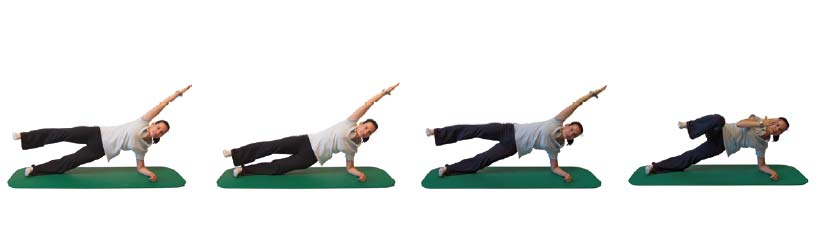 Seitstütz, Becken heben/senken abwechselnd mit  Arm und Bein beugen/strecken