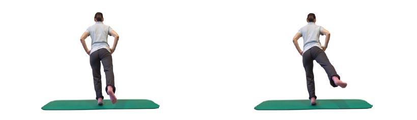 Einbeinballenstand mit Hüftextension und -abduktion des Spielbeines