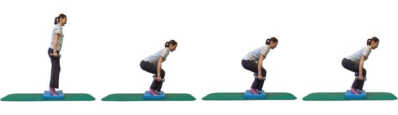 Kniebeugen im Ballenstand mit Zusatzlast und Beckenkippung